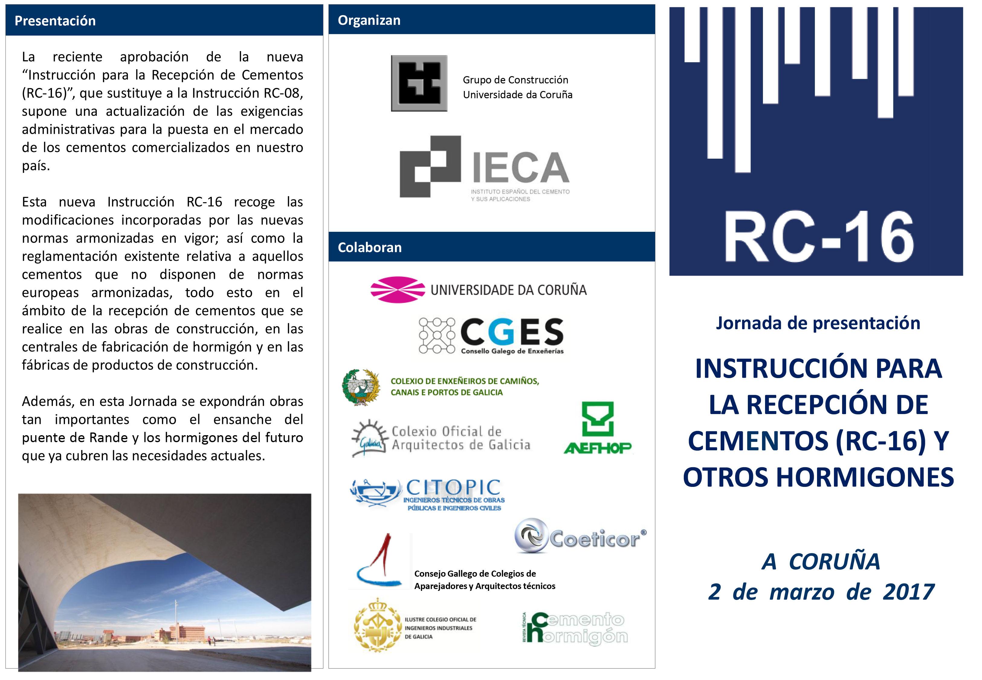INSTRUCCIÓN PARA LA RECEPCIÓN DE CEMENTOS (R-16) Y OTROS HORMIGONES