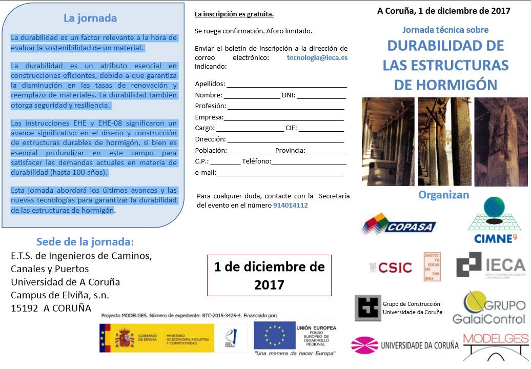 JORNADA SOBRE LA DURABILIDAD DE LAS ESTRUCTURAS DE HORMIGÓN