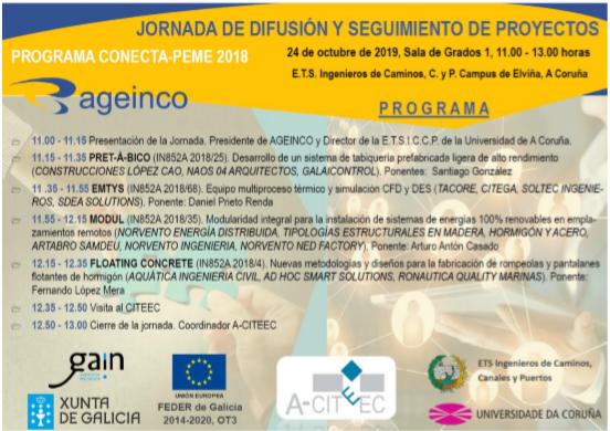 Acto de difusión de la evolución de los proyectos PRET-A-BICO, EMTYS, MODUL Y FLOATING CONCRETE durante la anualidad 2019