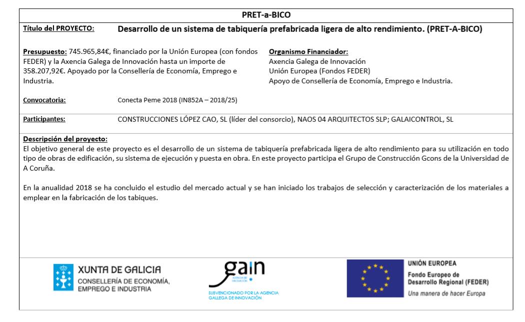 Galaicontrol participa en el proyecto «Desarrollo de un sistema de tabiquería prefabricada ligera de alto rendimiento»