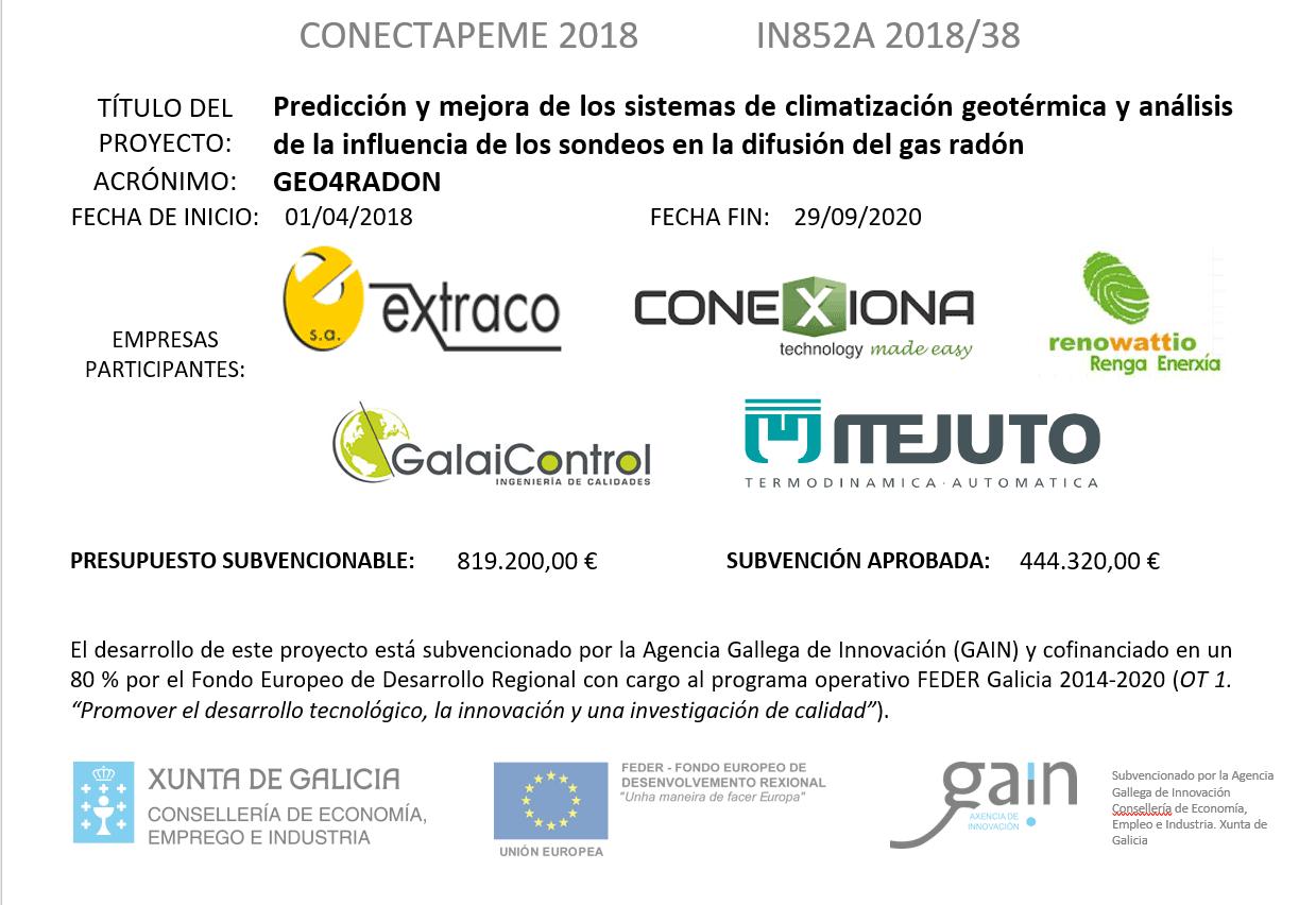 CONECTAPEME 2018 : Predicción y mejora de los sistemas de climatización geotérmica y análisis de la influencia de los sondeos en la difusión del gas radón